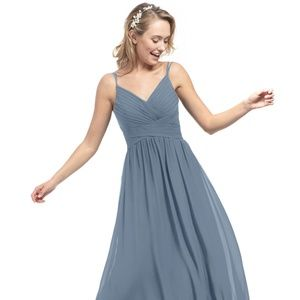Azazie Blake Bridesmaid Dress in Dusky Blue